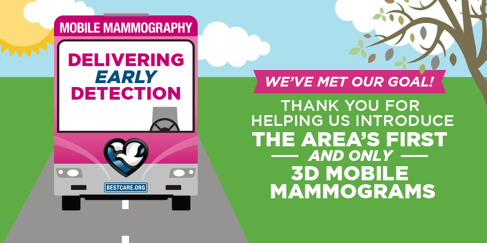 We've met our goal! Thank you for helping us the area's first and only 3d mobile mammograms.